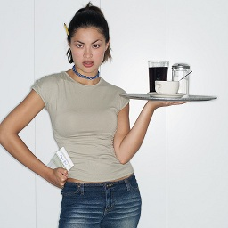 Waitress Holding Tray