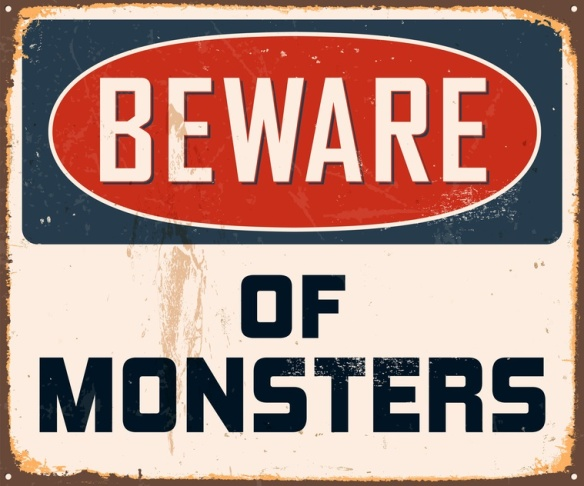 Vintage Metal Sign - Beware of Monsters - Vector EPS10.